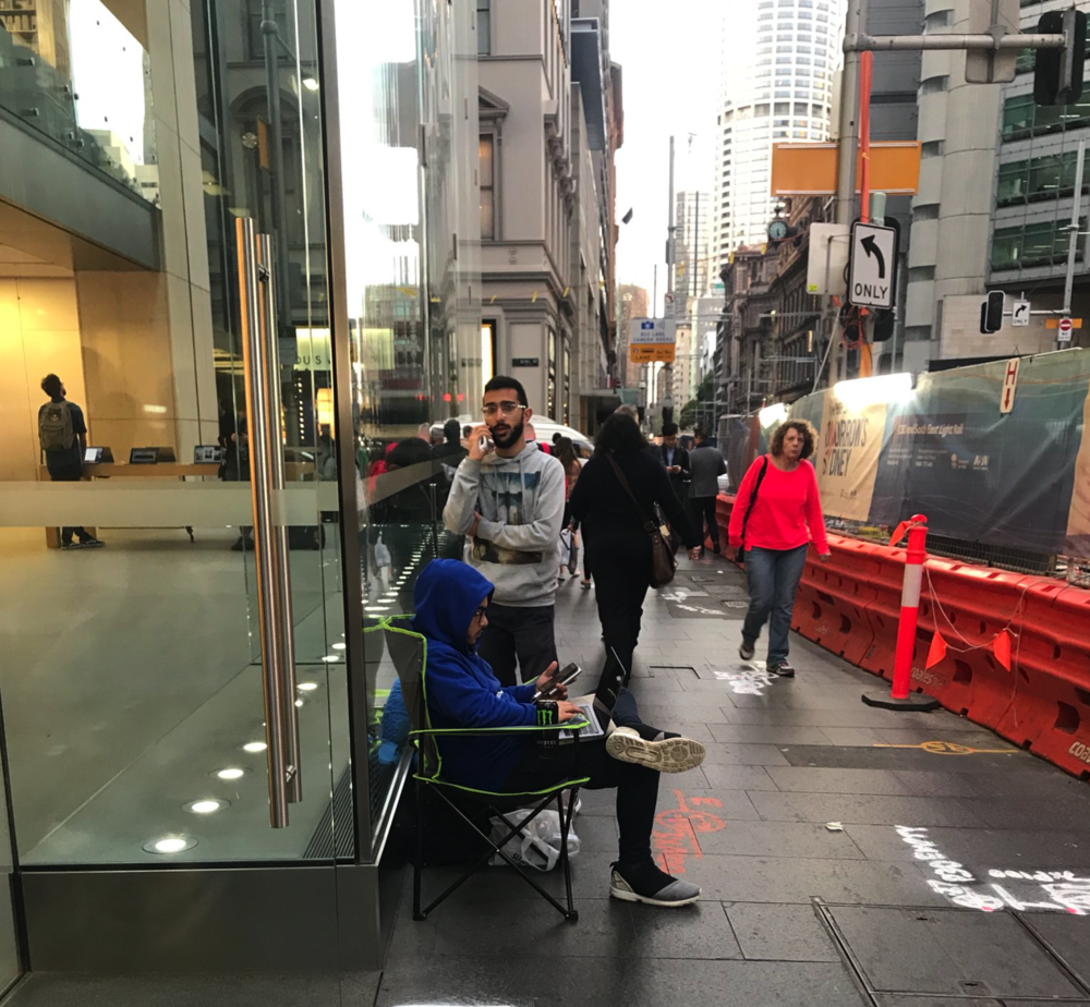 First person in an iPhone line in Sydney, Australia. Photo by Luke Hopewell
