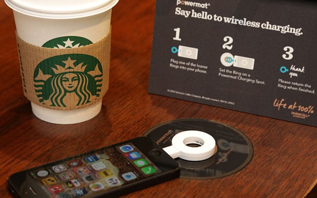 By the way, you can wirelessly charge ANY iPhone at a Starbucks with one of these Powermat rings...
