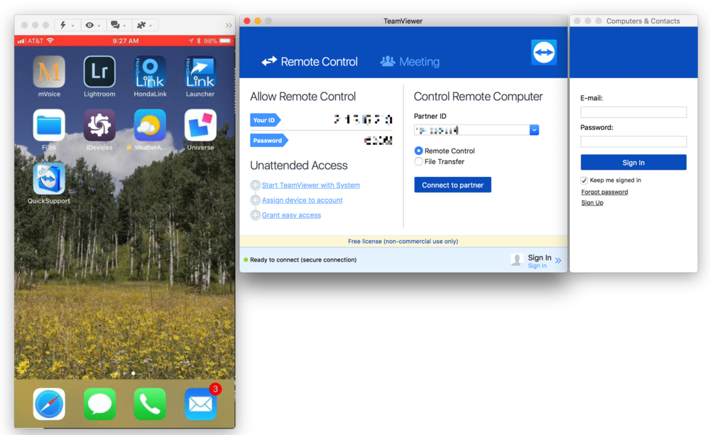 TeamViewer on Mac showing the screen of an iPhone at left