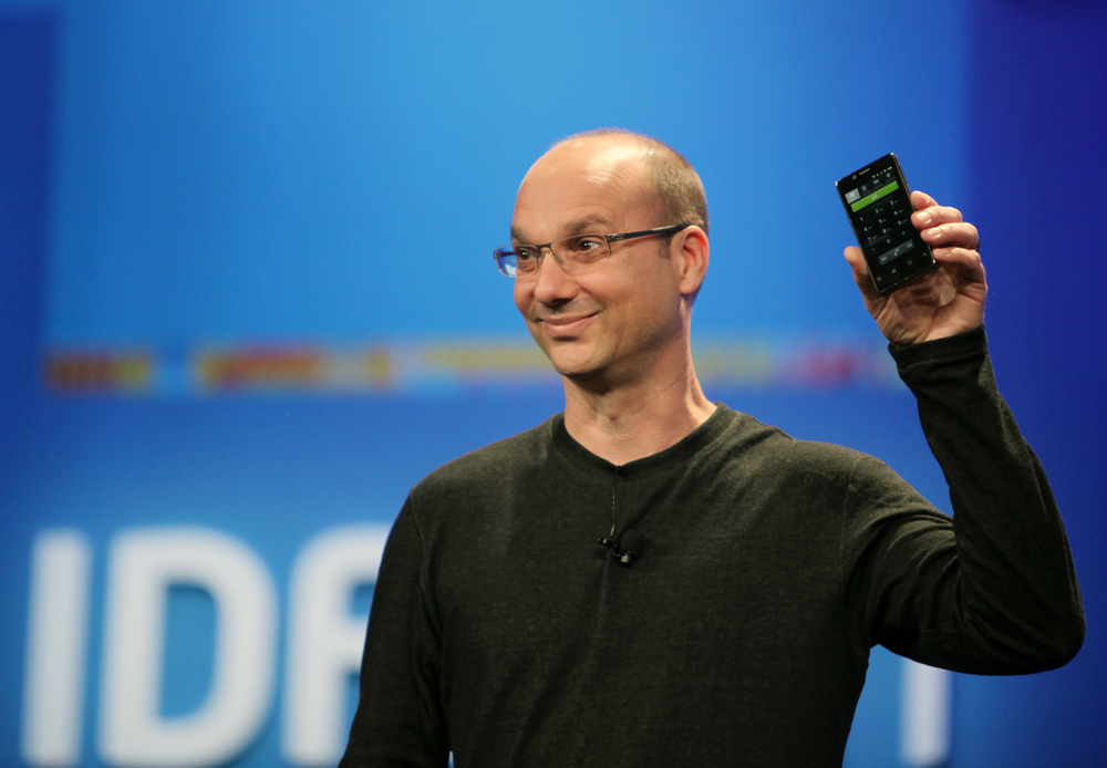 Andy Rubin, who shamelessly copied iOS, is being sued by a company owned by Tony Fadell for allegedly stealing trade secrets. Rubin is attempting -- badly -- to channel Steve Jobs in the Essential Phone rollout photo above.