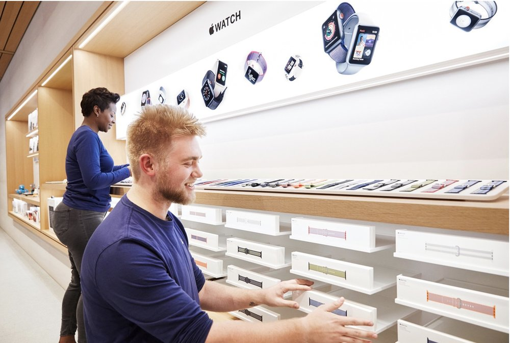 pple's original North Michigan Avenue store opened in 2003 with 58 employees and now employs a team of 250. -- Photo courtesy of Apple