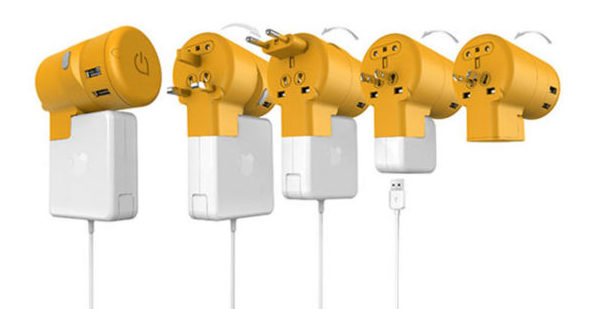 The Twist Plus World Charging Station showing various MacBook AC Adapters