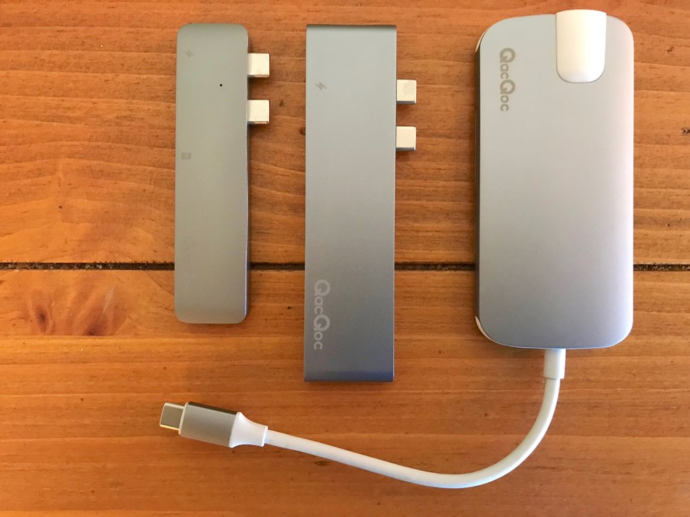 From left to right: QacQoc GN28A, GN28K and GN30H MacBook Pro hubs