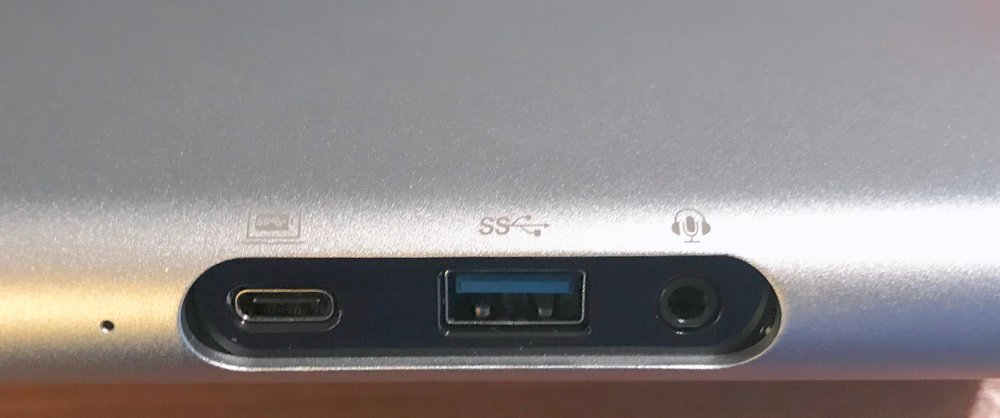 The ports at the front of the Belkin USB-C 3.1 Express Dock HD. Photo © 2017, Steven Sande