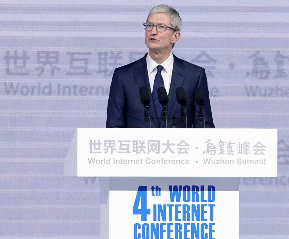 Apple CEO Tim Cook attends the opening ceremony of the fourth World Internet Conference in Wuzhen, Zhejiang province, China, December 3, 2017. REUTERS/Aly Song