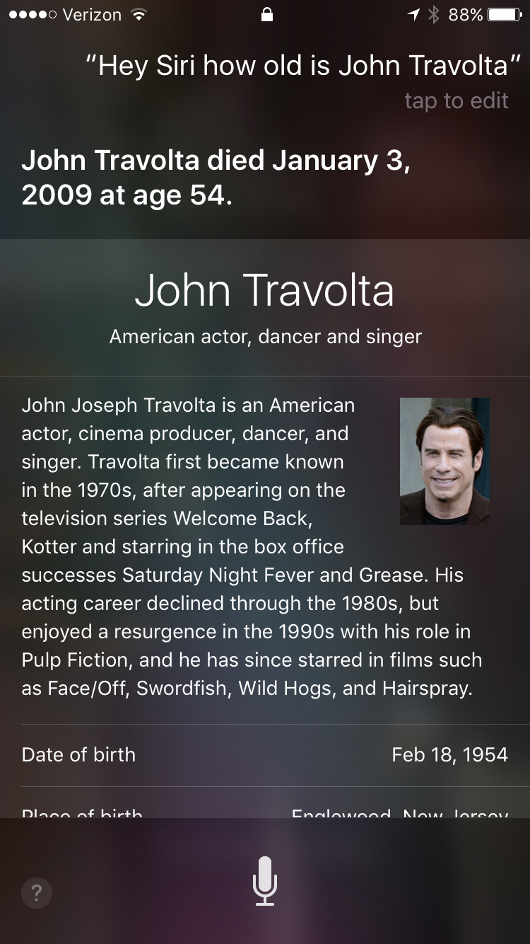 photo image No, Siri, John Travolta is not dead
