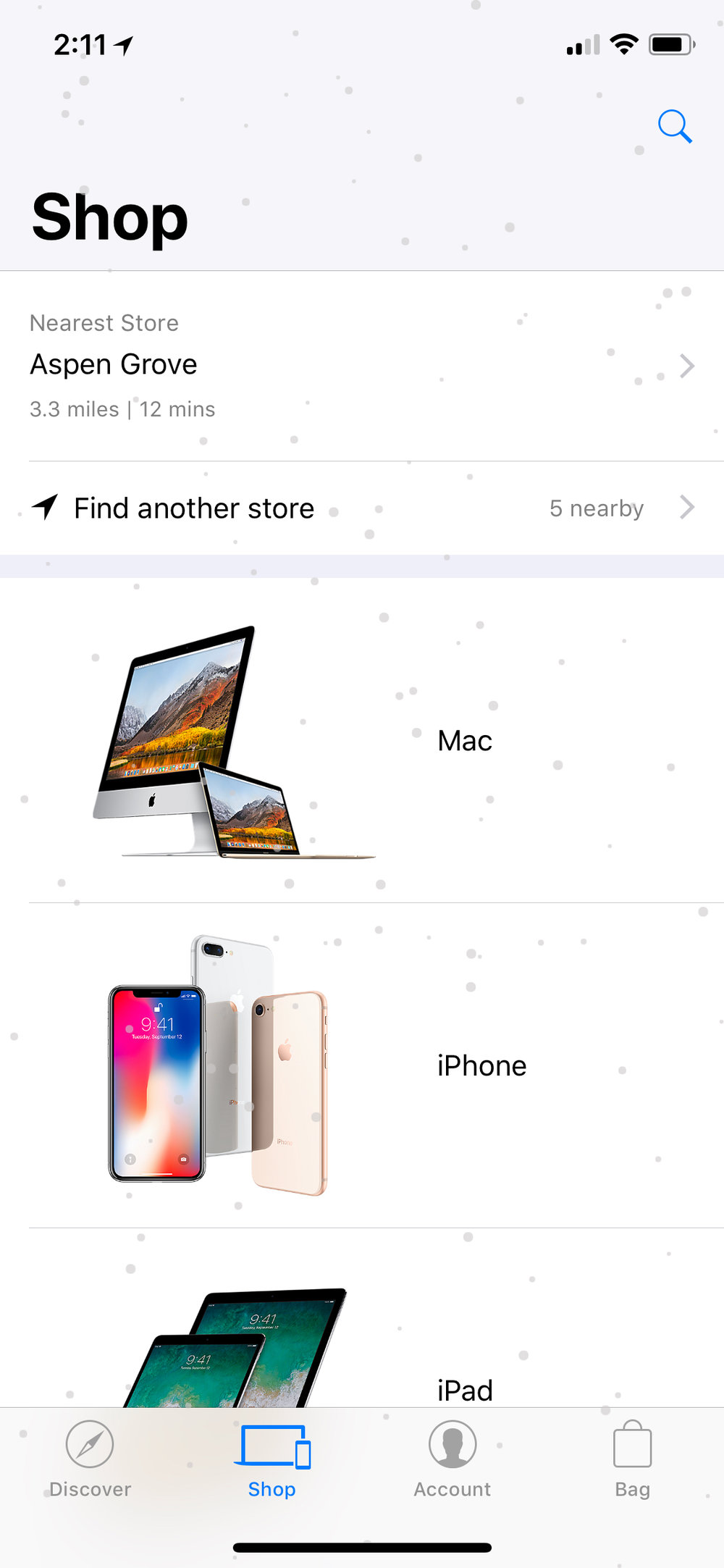 It's snowing in the Apple Store app!