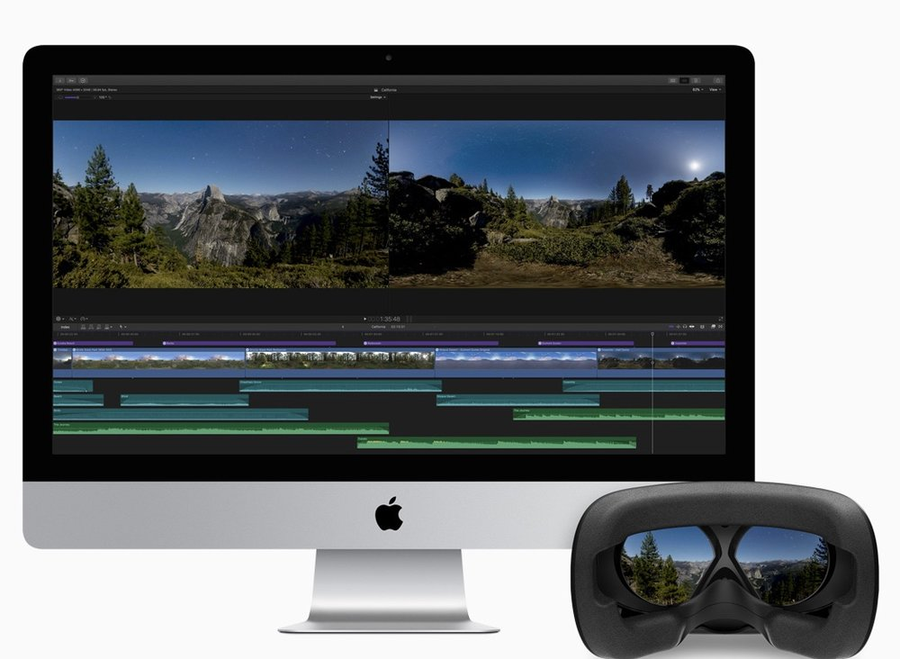 Final Cut Pro users can create immersive 360-degree films and view them in real time with a connected VR headset.