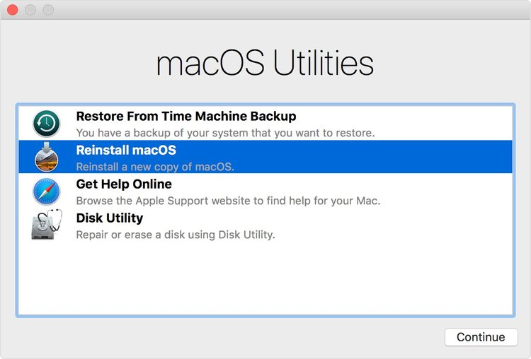 After Starting Up From MacOS Recovery Select These Utilities Then Click Continue