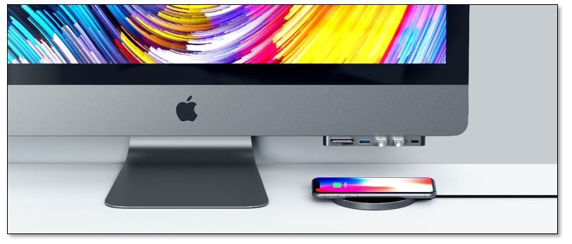 photo image Aluminum Type-C Clamp Hub conveniently brings ports to the front of an iMac