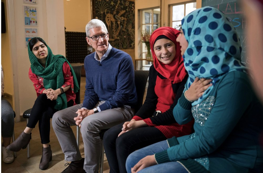 Apple CEO Tim Cook and Nobel Peace Prize Laureate Malala Yousafzai visit with Lebanese and Syrian students in Beirut, Lebanon. — Photo courtesy of Apple