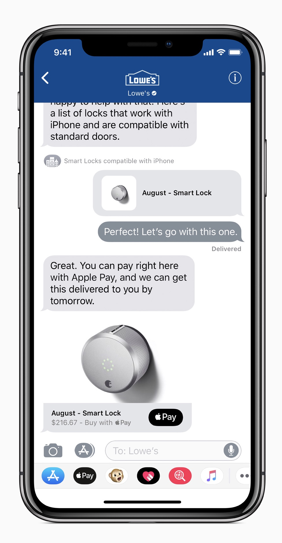 Business Chat lets users communicate directly with businesses like Lowe's right within the Messages app.