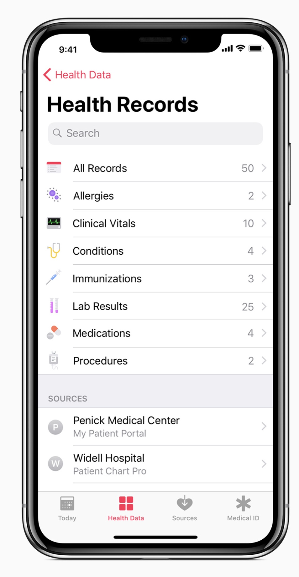 A new Health Records feature makes it easier for people to access and control of all of their health records and data.