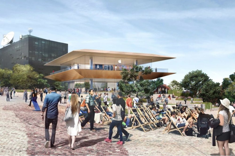 An artist's impression of a planned new Apple concept store at Melbourne's Federation Square. — Courtesy of the Victorian Governmen t
