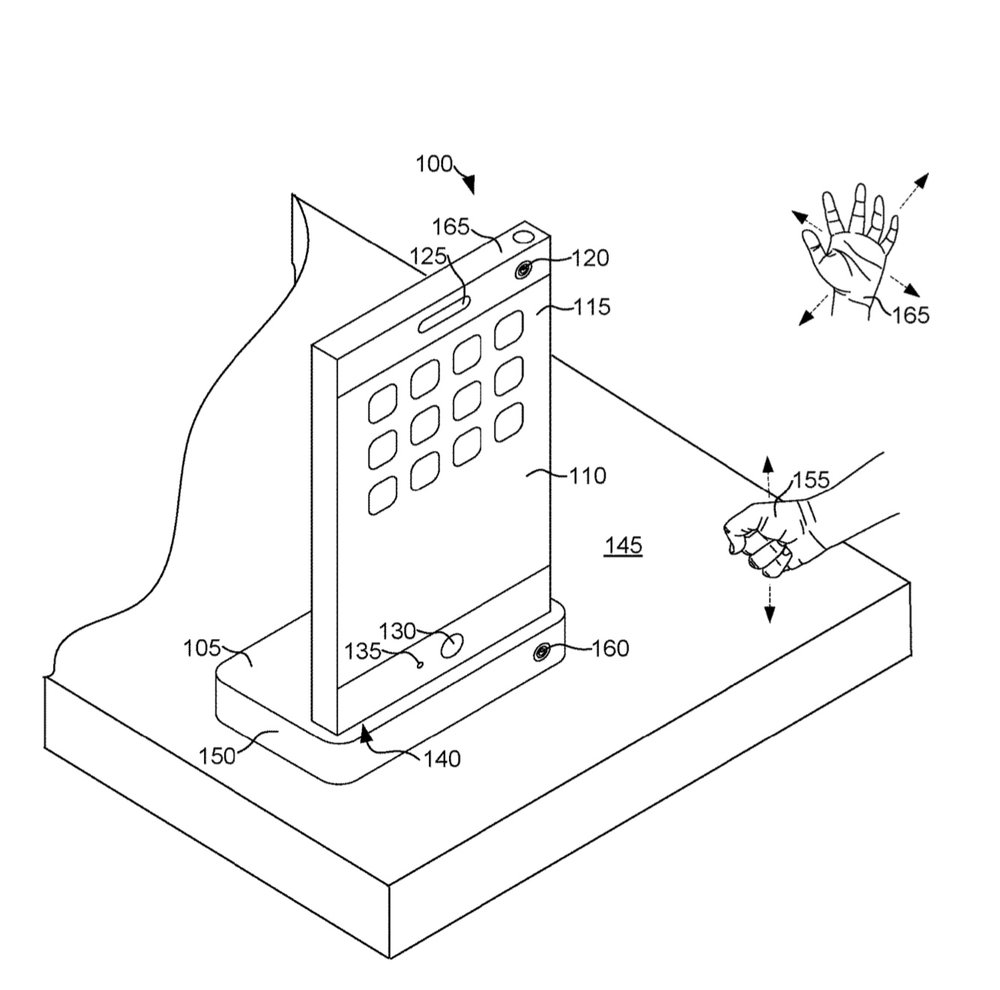 photo image Apple invention involves a docking station that recognizes gestures and 'impact' input