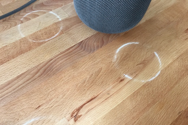 The HomePod's base can leave rings on wood finishes. Photo: Jon Chase