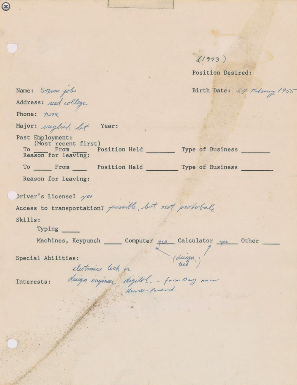 The original of this employment application filled out by Steve Jobs in 1973 could be yours!