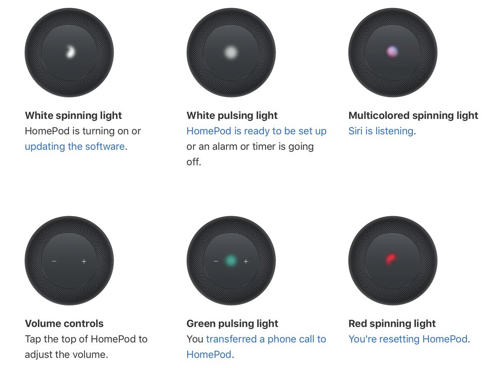 photo image How to identify status lights on your HomePod