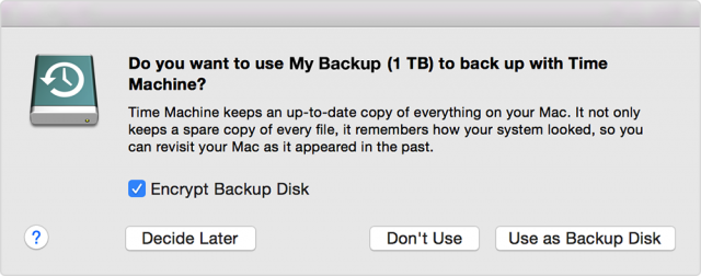 "Click ""Use as Backup Disk"" and Time Machine begins a backup"