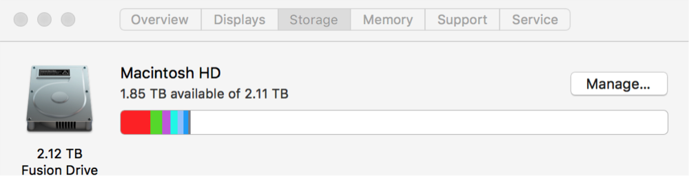 Displaying the maximum and currently used storage on an iMac