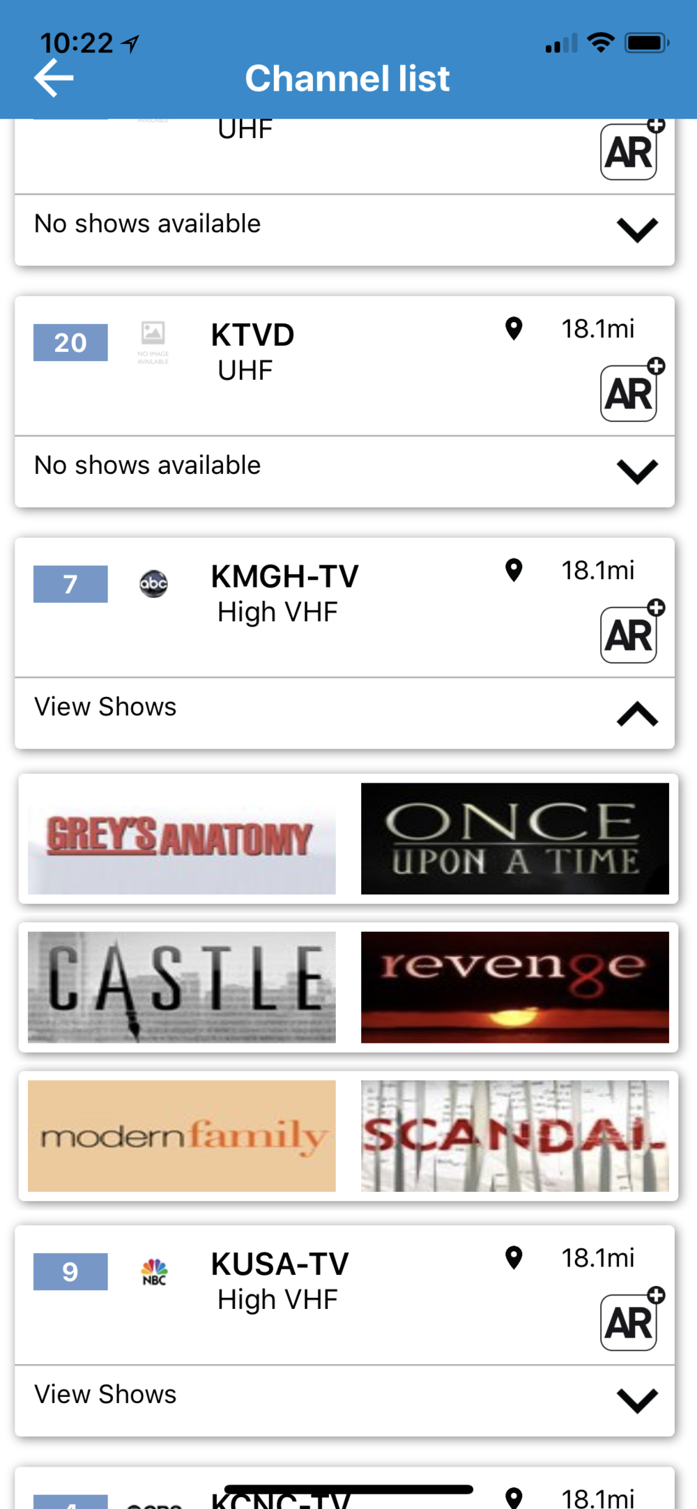 Shows available on a station