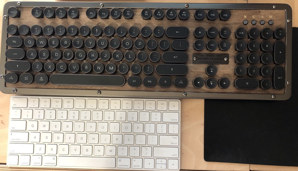 This is how the Retro Classic compares to Apple's Magic Keyboard in size.