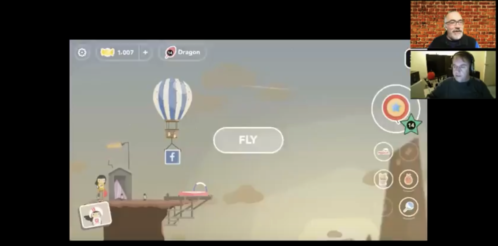 Marty demonstrates Ava Airborne, an endless runner game with an aerial twist