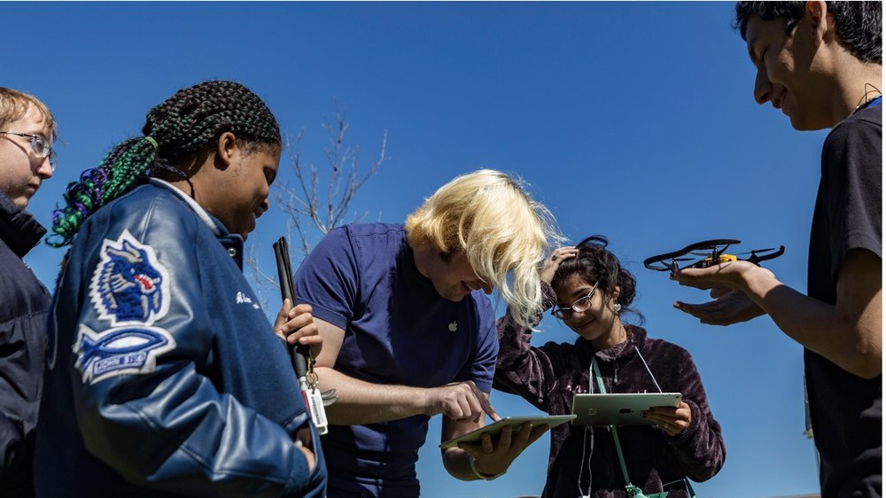 Students from Texas School for the Blind and Visually Impaired use code they wrote through Swift Playgrounds to pilot Parrot drones. —Photo courtesy of Apple