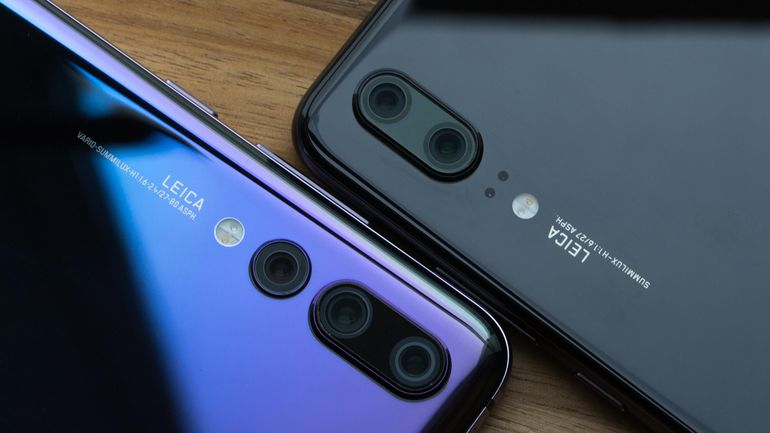 The three-lens camera on the Huawei P20 Pro (left)