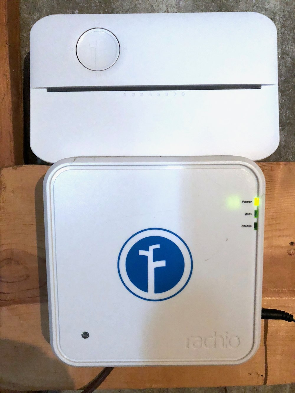 Rachio 3 (top) is half the size of the original Rachio (bottom). Photo by Steven Sande