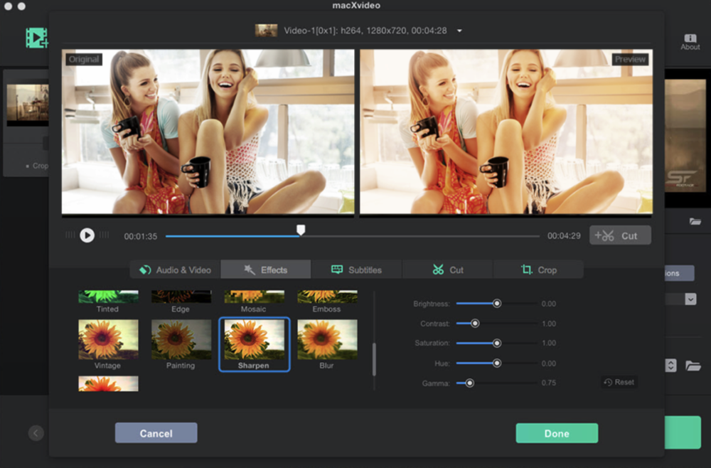 Give your video that professional look by adding one of the many effects available in macXvideo