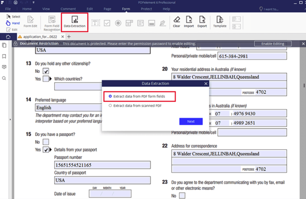 Extracting data from PDF forms into spreadsheets is easy with PDFelement