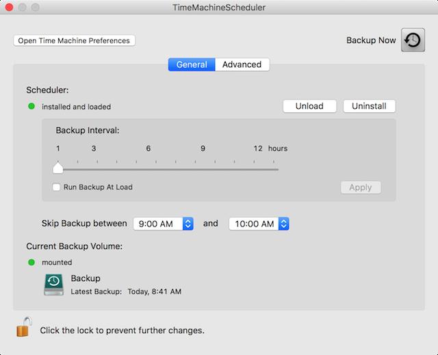 TimeMachineScheduler v4.0beta8 user interface