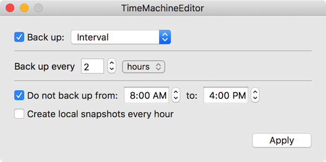 Setting the interval between backups to once every two hours