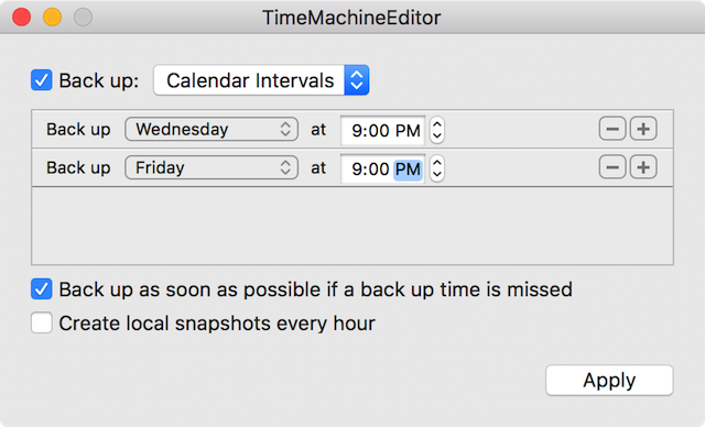 Setting a calendar of backups with TimeMachineEditor