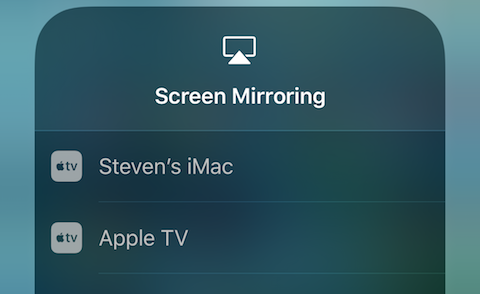 Select the AirPlay device to mirror the iOS device