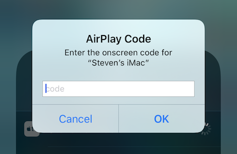 This dialog requests the 4-digit AirPlay Code provided by Reflector