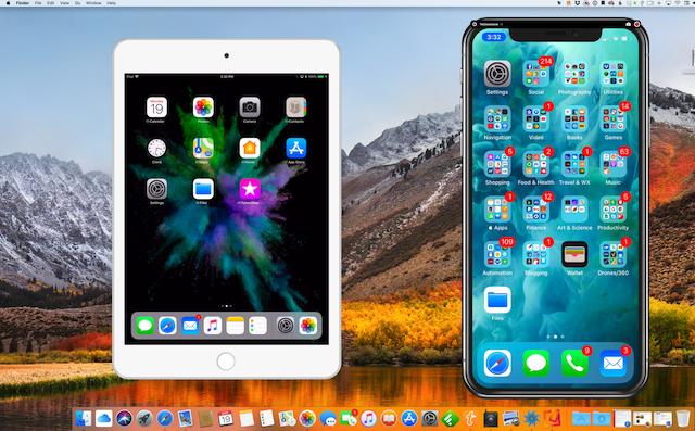 Ta-da! Both my iPad mini 2 and iPhone X are mirrored to an iMac