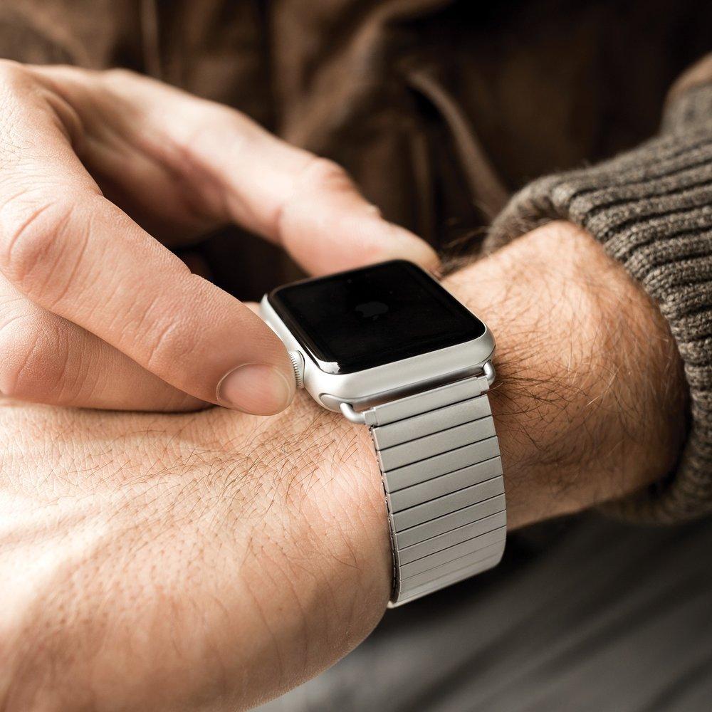 Twist-O-Flex Brushed Stainless Steel Apple Watch band. Photo courtesy of Speidel.