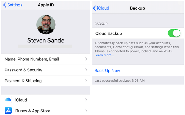 In these screenshots, iCloud Backup is enabled (green button) and my last successful backup was at 3:08 AM