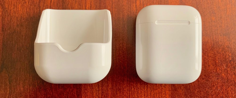 HyperJuice (left) with Apple AirPods charging case at right. Photo ©2018 Steven Sande