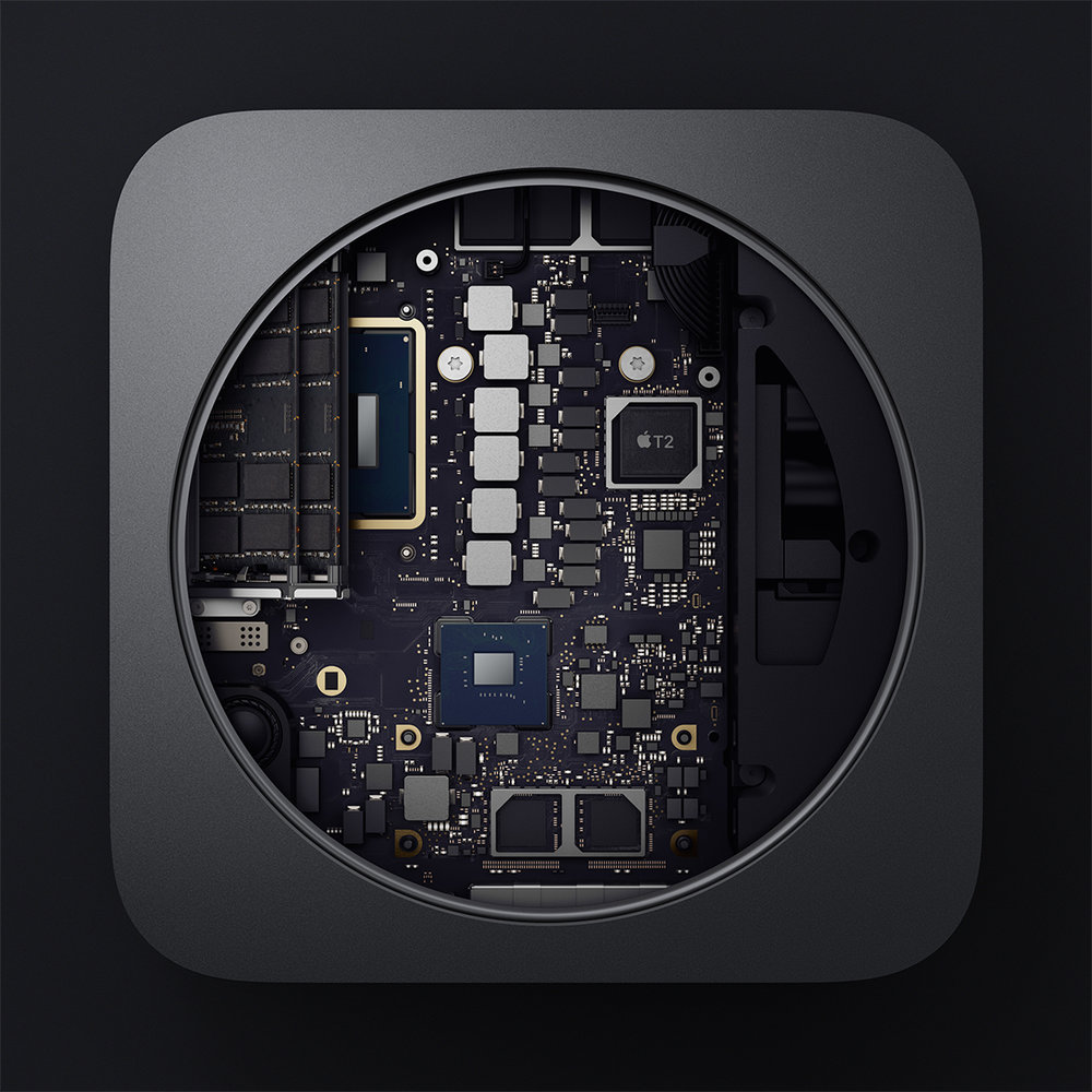 The lovely insides of a new Mac mini. Photo courtesy of Apple