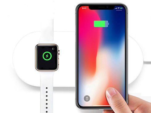 Charge your Apple Watch and iPhone simultaneously with the iPM 2-in-1 Wireless Charging Pad