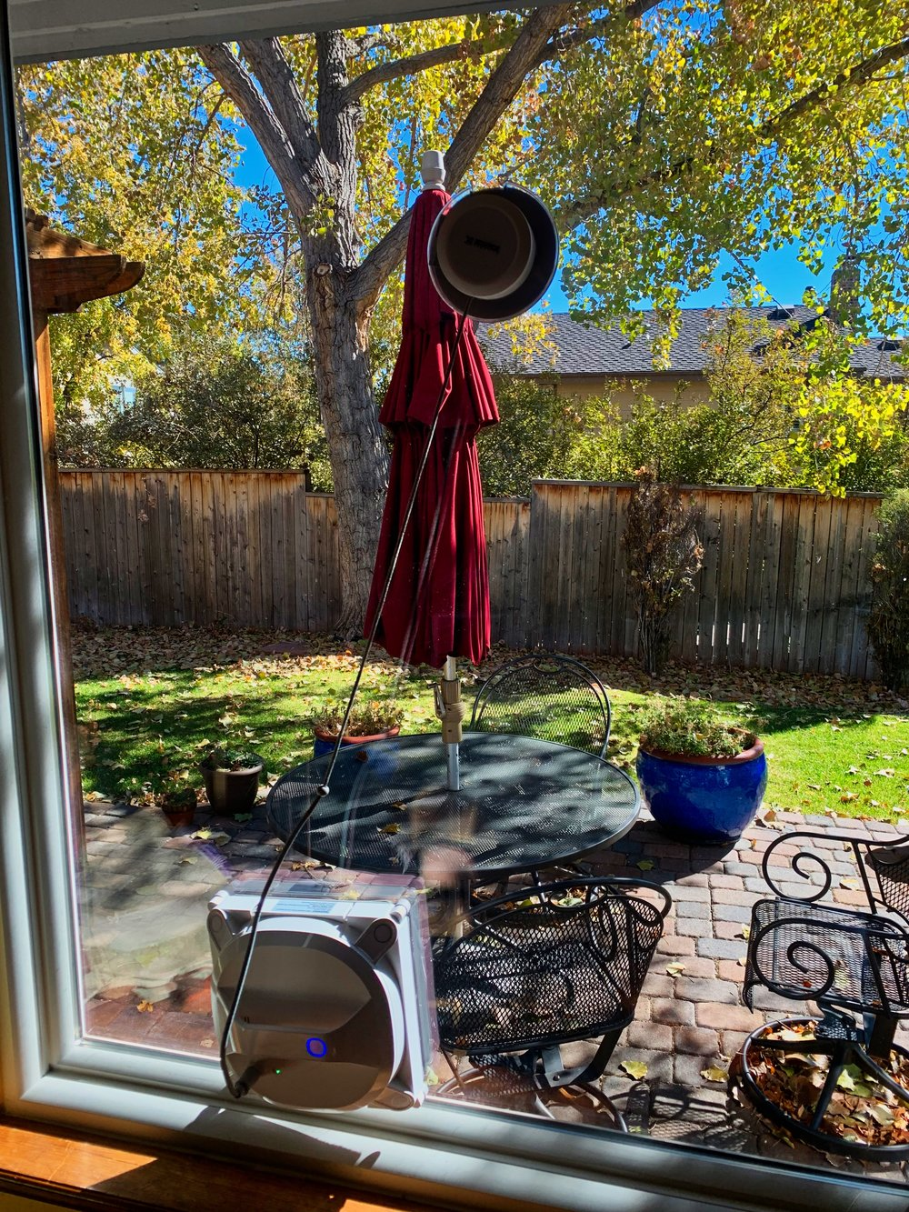 Don't let the clear fall day fool you; this window is actually quite streaky after a cleaning by the Winbot X. Photo ©2018, Steven Sande
