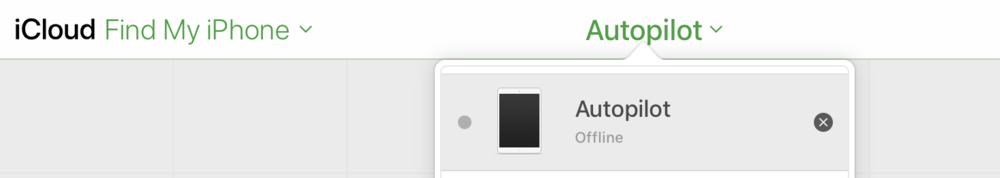 """Removing an iPad mini named """"Autopilot"""" from Find My iPhone by clicking the X"""