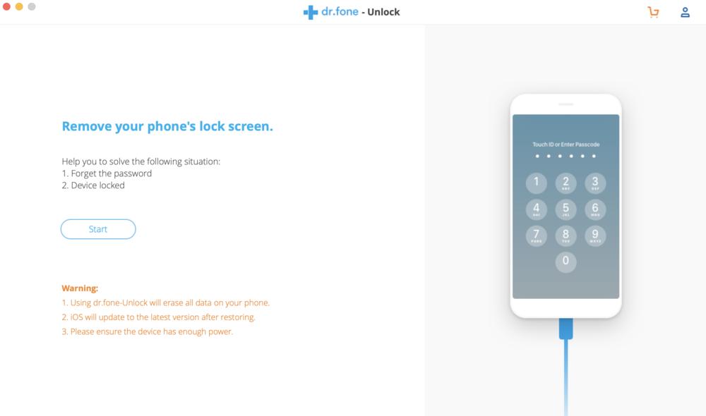 "dr.fone-unlock main screen. Click ""Start"" to begin the unlocking process"