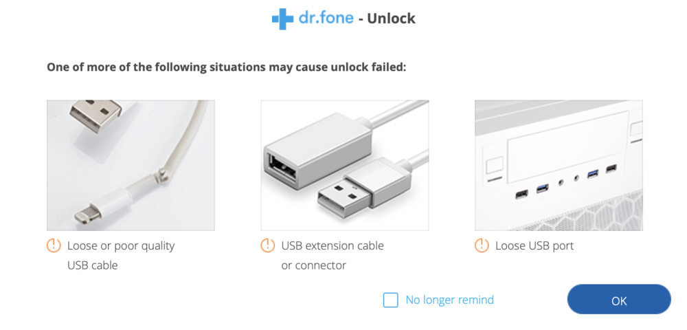 dr.fone-unlock reminds you that certain conditions may result in failing to unlock your device