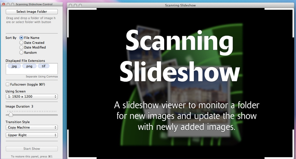 Scanning Slideshow for macOS is a handy tool for photographers, display designers