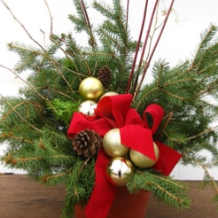 "10"" Outdoor Winter Container Variety of accent colors & bows (red, gold, or silver) - $40"