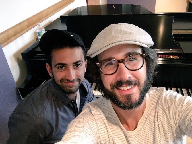 "Or Matias, left, the musical director of ""The Great Comet,"" in Stockholm to work with Josh Groban on vocals for the show. via Or Matias"